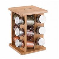 Набор для соли и специй Kamille 7035 на прямоугольной деревянной подставке 12 предметов