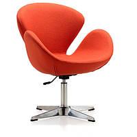 Кресло Сван, мягкое, металл, ткань, цвет оранжевый