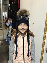 Комплект шапка + шарф для девочки NIKOLA Польша 18z63k Синий