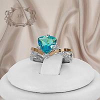 """Кольцо серебряное с  голубыми фианитами и золотыми вставками """"326"""""""