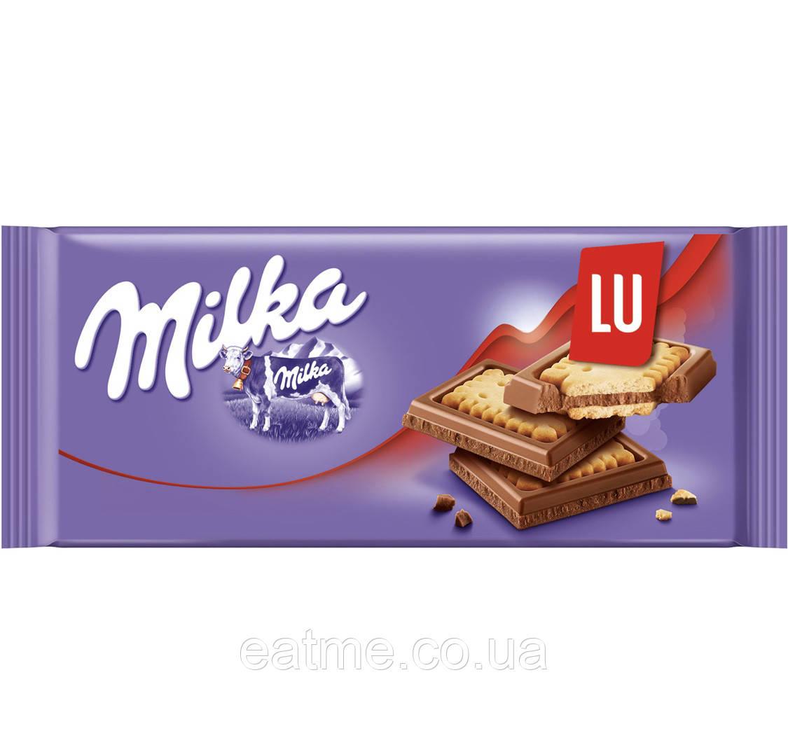 Milka LU Молочный шоколад с цельным печеньем