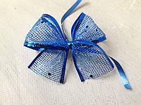 Новорічний бант сітка брокат 8*9 см синій Новогодний бант сетка брокат синий