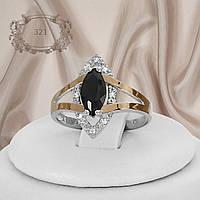 """Кольцо серебряное с черным камнем и золотыми вставками """"321"""""""