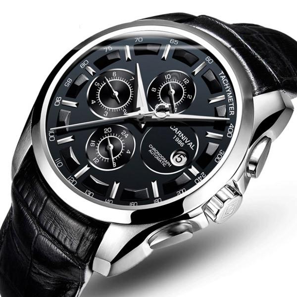 Carnival Мужские классические механические часы Carnival Genius Black 8705