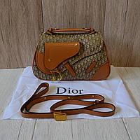 Коричневая женская сумка Christian Dior текстиль+натуральная кожа (реплика - LUX) - 76305 (Brown)