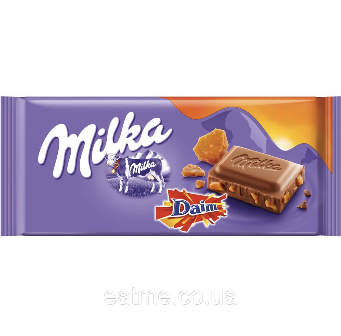 Milka & Daim Молочный шоколад с кусочками соленой карамели