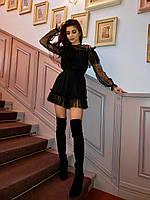 Стильный женский комбинезон из фатина с пушистыми оборками