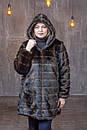 Женская шуба из экомеха в больших размерах с капюшоном и на молнии 39rv99, фото 4