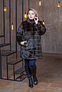 Женская искусственная шубка выше колена в больших размерах с воротником - стойкой 39rv01, фото 3