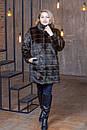 Женская искусственная шубка выше колена в больших размерах с воротником - стойкой 39rv01, фото 4