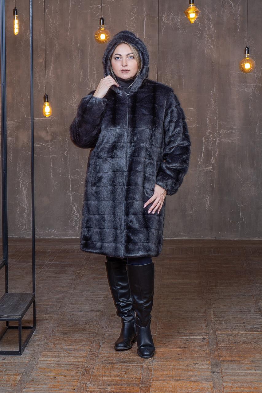 Женская метровая искусственная шуба в больших размерах с капюшоном 39rv04