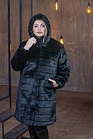 Женская шуба из искусственного меха длиной по колено в больших размерах 39rv06