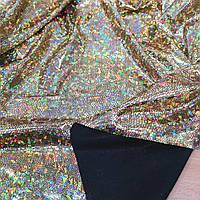 Трикотаж диско голограмма золото на черном