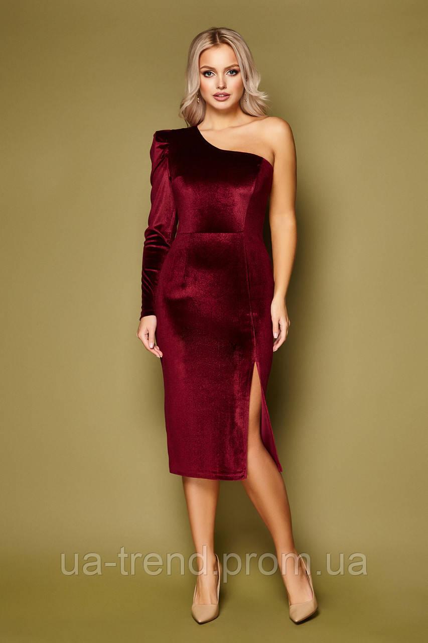 Вечернее велюровое платье на одно плечо