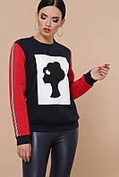 Женский свитшот с начесом черный с красным