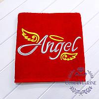 """Подарок для жены - банное махровое полотенце с вышивкой """"Angel"""" красное, 70х140 см, 100% хлопок Lux"""