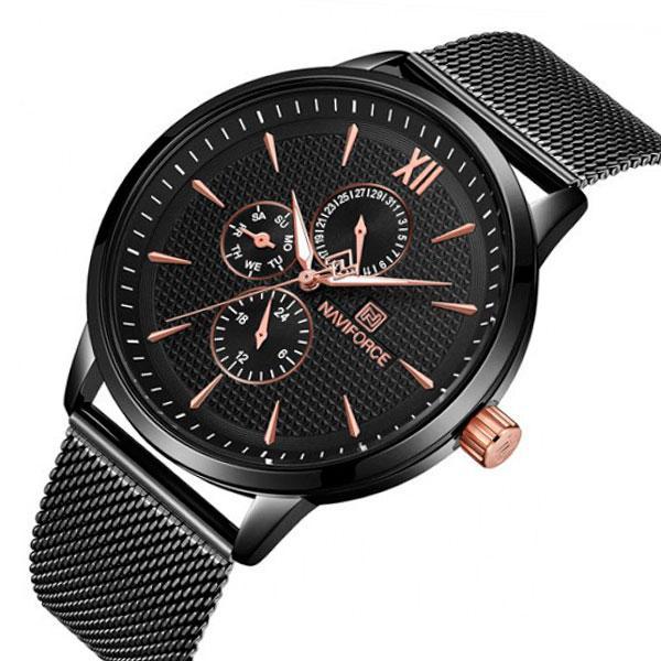 Naviforce Мужские спортивные кварцевые часы Naviforce Business Steel Black 3003