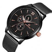 Naviforce Мужские спортивные кварцевые часы Naviforce Business Steel Black 3003, фото 1