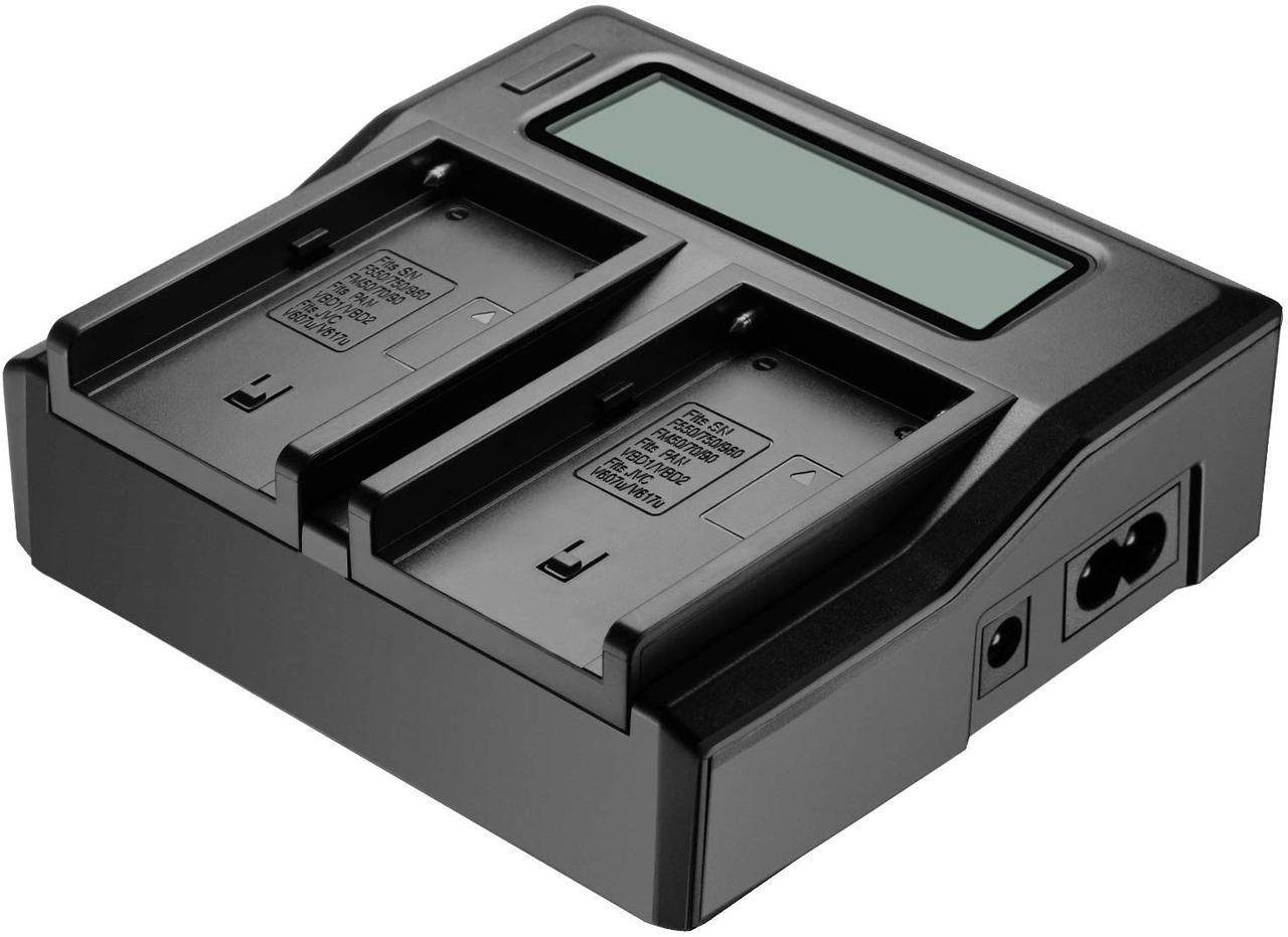 Подвійне зарядний пристрій KingMa NP-FM50 для акумуляторів Sony NP-F550/750/970.