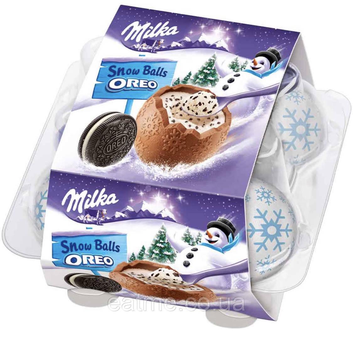Milka Snow Balls Oreo Шоколадные шарики со сливочной начинкой с печеньем Oreo
