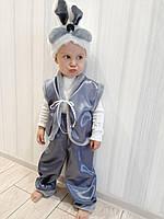 Детский карнавальный новогодний костюм Зайчик (цвет: серый и белый)