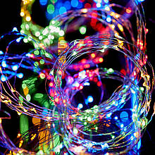 Светодиодная Гирлянда Водопад ЛЕД Конский Хвост Мультицвет 10 нитей 1,9м 200led Сеть 220В Waterfal Multi