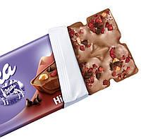 Milka Collage Himbeere Молочный шоколад с кусочками малины, фундука и чёрного шоколада, фото 2