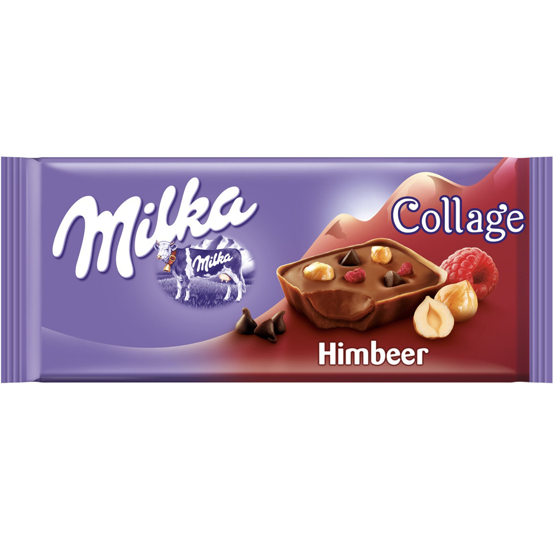 Milka Collage Himbeere Молочный шоколад с кусочками малины, фундука и чёрного шоколада