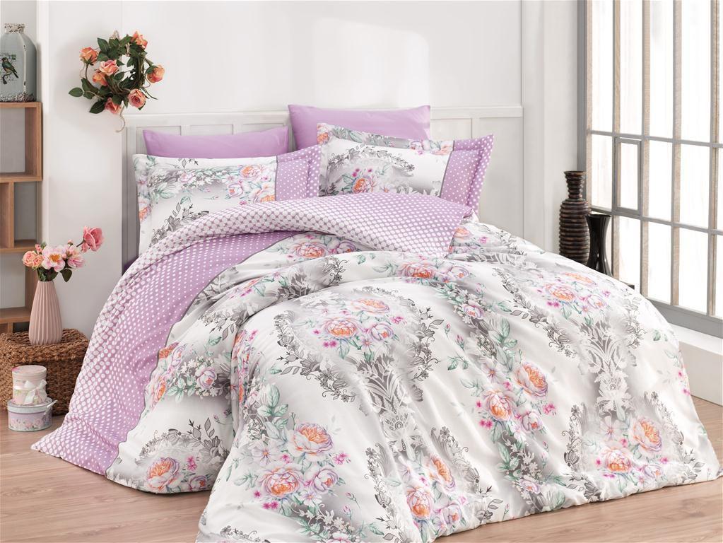 Евро-комплект постельного белья Nazenin rosalita lila Сатин. Турция