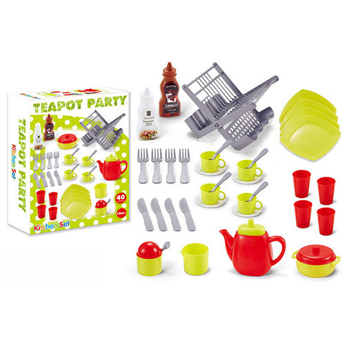 Посуд, чайний, кухонний сервіз, на 4 персони, сушарка, 40 предметів, XG1-3