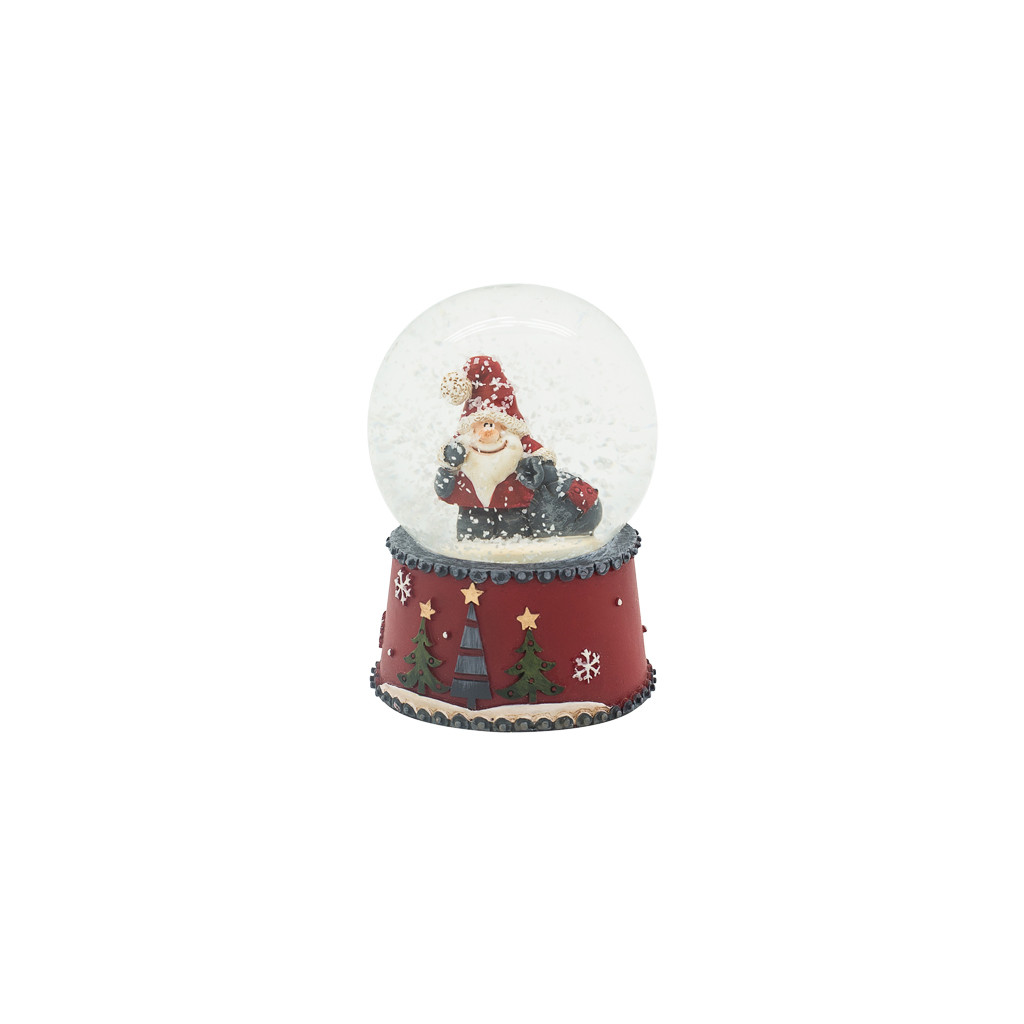 Шар снежный Санта с ёлкой 5см 109235