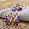 """Набор """"Аврора"""" 90077 кольцо размер 18 + серьги 16*11 мм, фиолетовые фианиты, позолота РО, фото 2"""
