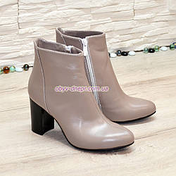 Ботинки женские кожаные на высоком каблуке. Цвет визон