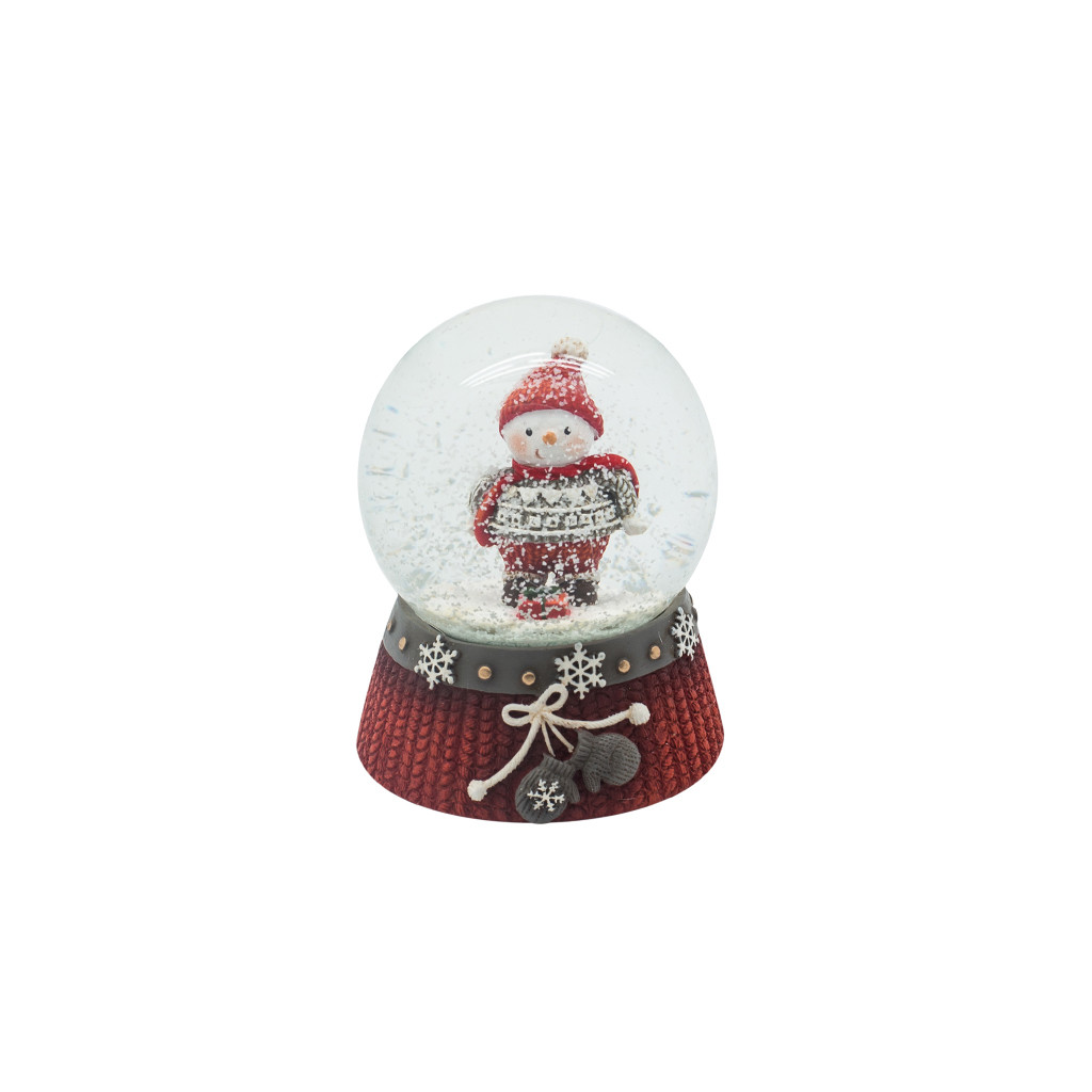 Шар снежный Снеговик в свитерке 8.5см 109233
