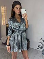 Блестящее платье на запах, фото 1
