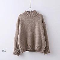 Женский теплый вязаный свитер оверсайз с небольшим воротником стойкой 77dmde752