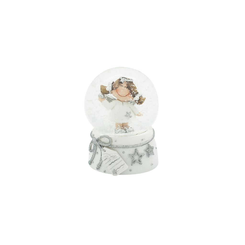 Шар снежный Девочка ангел в белом платье 6см 109229
