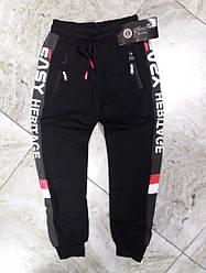 Трикотажные спортивные штаны с начесом  для мальчика  цвет черный  134 см