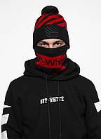 Комлект Off White (шапка + бафф) черно-красный