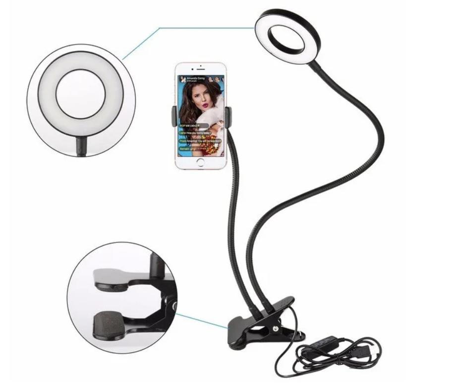 Держатель для телефона с подсветкой Professional Live Stream | Кольцо на прищепке для прямых трансляций