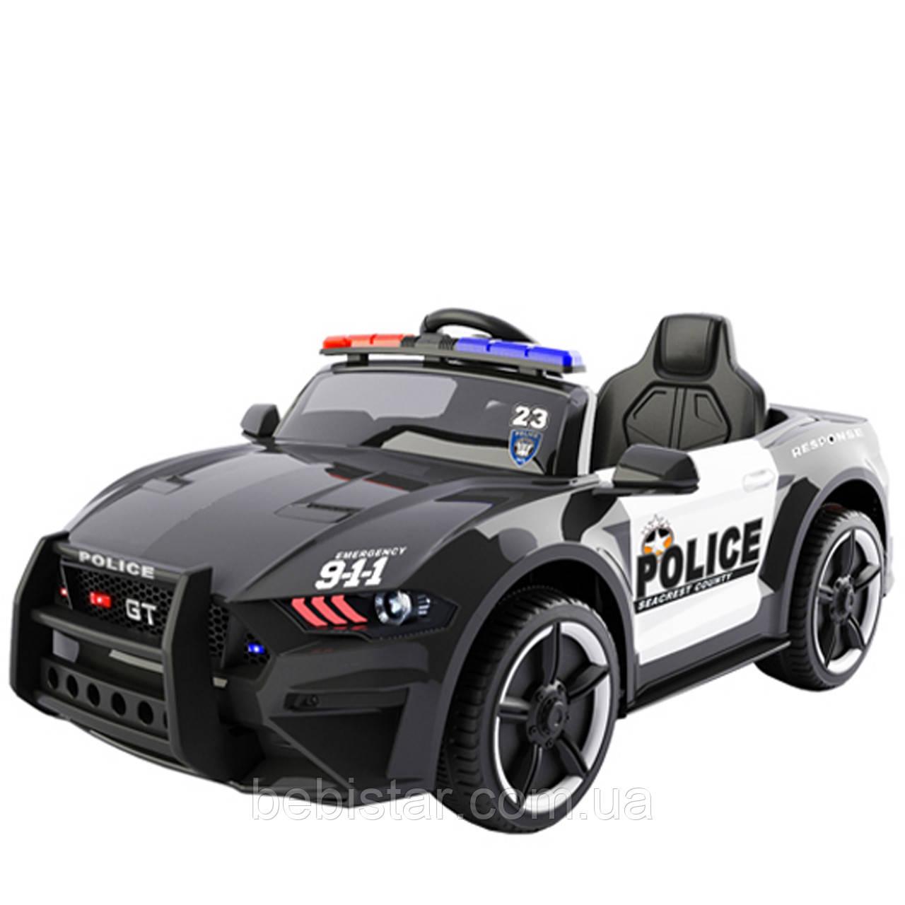Электромобиль спортивный черный T-7646 EVA BLACK для деток 3-8 лет пульт мотор 2*20W, аккум 12V7AH с MP3