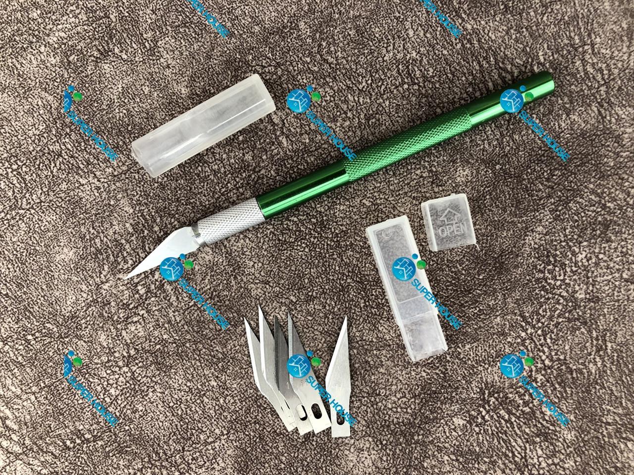 Нож для кроя, скальпель металлический +5 лезвий