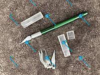 Нож для кроя, скальпель металлический +5 лезвий, фото 1