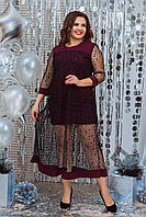 Нарядное женское платье Креп дайвинг и сетка с напылением флок Размер 48 50 52 54 56 58 60 62