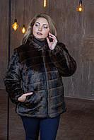 Жіночий кожушок у великих розмірах з экомеха під норку з капюшоном 39msh90, фото 1