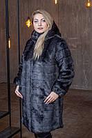 Женская метровая искусственная шуба в больших размерах с капюшоном 39msh04, фото 1