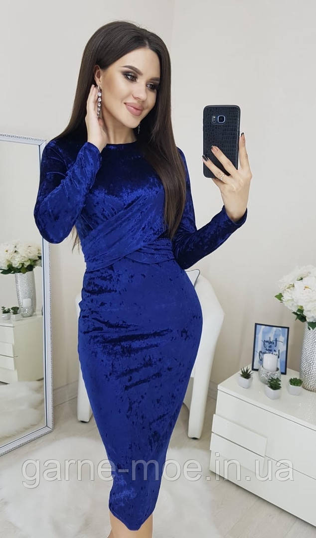 У25141/1 Женское бархатное нарядное платье