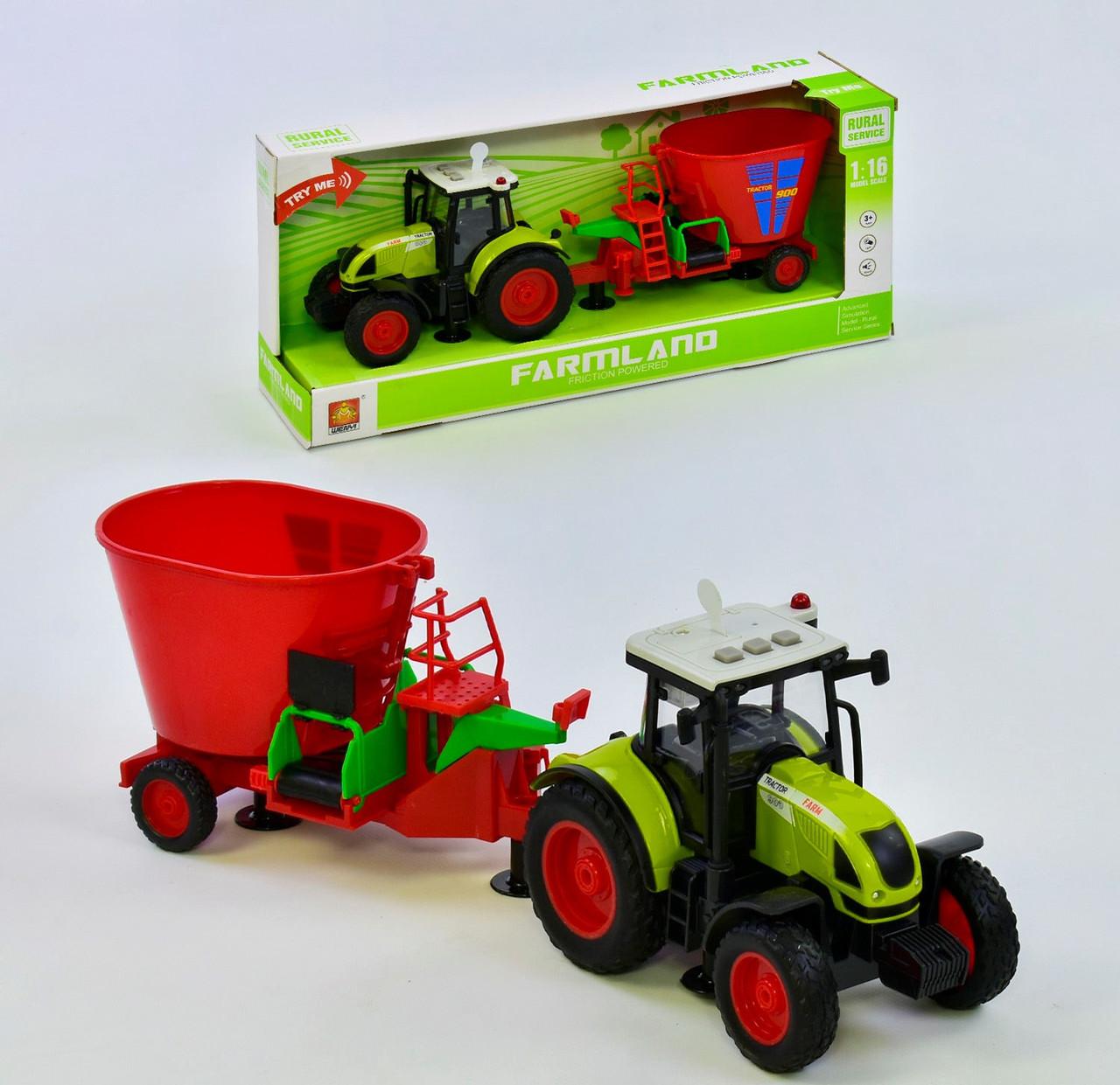 Трактор инерционный с красным прицепом 38 см (звуковые и световые эффекты)