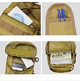 Тактическая, военная сумка, рюкзак на одной лямке. Хаки. Рюкзак через плечо на одной шлейке, фото 7