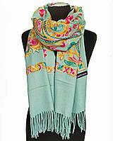 Женский шарф палантин голубой кашемировый теплый